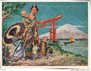 A Japanese Mother, Fujiyama in the Background